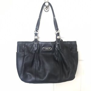 Coach Legacy Black Soft Leather Medium Satchel Carryall Tote Bag Handbag F16565