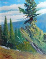 pine tree valley sky blue green Impressionism Landscape Original Oil Painting