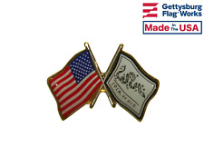 Join Or Die & US Flags Double Waving Lapel Hat Tie Friendship Pin Made in USA