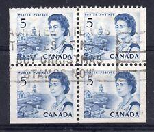 CANADA = QE2 5c (ex-Booklet pane). `SON` Block of 4. Used.