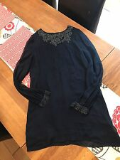 FRENCH CONNECTION 100% SILK EMBELLISHED DRESS - SIZE 14