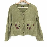Medium Vintage USA Made Produce Company Women's  Button Front Jacket Green C067