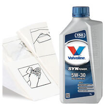 Engine Oil Top Up 1 LITRE Valvoline SynPowr ENV C2 5W-30 1L +Gloves,Wipes,Funnel