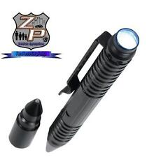 Tactical Black Aluminum Screw Cap Glass Breaker Tip Writing Pen & Flashlight