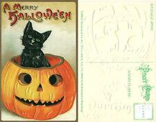 HALLOWEEN BRAND NEW UNUSED EMBOSSED POSTCARD - BLACK CAT w/ JACK-O-LANTERN