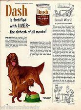 1950 Irish Setter & Puppy Dash Dog Food Vintage Print Ad Advertising
