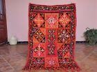 Vintage Moroccan Berber Rug Red Floral Handmade Bohemian Antiques 3ft 0 x 4ft 3