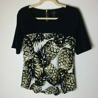 Worthington Women's Top Size Small Pineapples Back Zipper Short Sleeves Casual