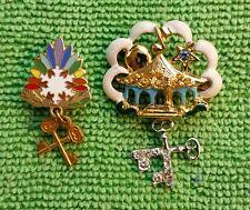 Pair Vintage Masonic Eastern Star Pins w Rhinestones