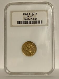 1868 S Gold $2.50 Liberty Head Coin / NGC XF40