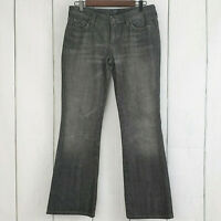 7 FOR ALL MANKIND sz 29 Black Wash Boot Cut Jeans Distressed Embellished Women's