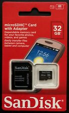 NEW SEALED SANDISK MICROSDHC 32 GB CARD WITH ADAPTER HD VIDEO CAMERA PHONE TABLE