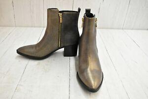 Madden Girl Winwood Block Heel Ankle Boots, Women's Size 7.5 M, Metallic NEW