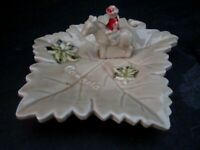Vintage Maple Leaf Dish Ashtray With Royal Mounted Police Souvenir Canada JAPAN