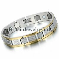 """Stainless Steel Men's Jewelry Magnetic Link Bracelet 8.4"""" Gold Silver Two Tone"""