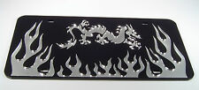 DRAGON  FLAME MARTIAL ARTS  MIRRORED LASER CUT LICENSE PLATE INLAID ACRYLIC WOW!