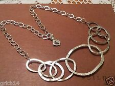 "SILPADA ""POP THE BUBBLY"" STERLING SILVER BIB CHAIN LINKED NECKLACE RETIRED"