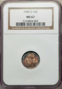 1900-O BARBER DIME 10C NGC MS67 SINGLE FINEST KNOWN, SUPER RARE, PG = $14,500!