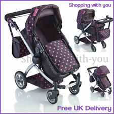 Childrens 2 In 1 Doll Stroller Buggy Or Toy Dolls Pram Deluxe Pushchair NEW