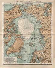 Landkarte map 1897: KARTE DER NORD-POLARLÄNDER. Alaska Russisches Reich Grönland