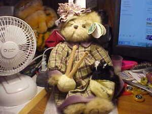 "Bearington Collection Series Limited 11"" Tall Girl Knitting is my Bag Bear"