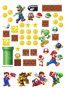 Super Mario Luigi Eßbar Muffin Torten-Bild-Aufleger Party Deko Geburtstag Spiel