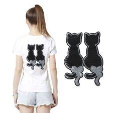 Süß Katze Pailletten Bestickt Kissen Taschen Nähen Kleider Flicken DIY Handwerk