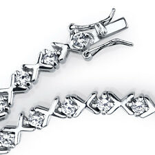 "925 Sterling Silver CZ High Polished ""X"" XO Tennis Bracelet with Cubic Zirconias"
