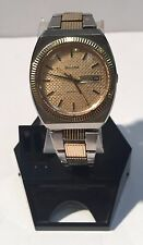 Vintage Bulova Watch Wristwatch Automatic Day Date Waffle Dial N6 Two-Tone