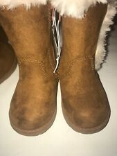 CAT & JACK Girls' Toddler Sz 5 BOOTS (brown faux suede/fur w/ zipper) NEW w/ Tag