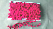 1 Mtr Bright Pink Pom Pom Bobble Trim Fringe - Medium Size 10mm