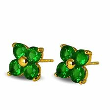 Simulated Green Emerald Flower 18ct Gold Filled Stud Earrings Womens Girls 18K