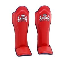 Top King Muay Thai Boxing Shin Pads TKSGP Shin Guards Pro Genuine Leather Red