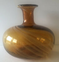MURANO STYLE ART GLASS AMBER & WHITE SWIRL CONTROLLED BUBBLE HAND BLOWN 7.5 VASE