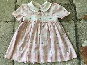 Vintage Debenhams Pink Summer Baby Dress. 6/9 Months