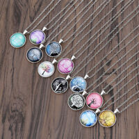 Charms Tree of Life Glass Cabochon Pendant Necklace Silver Chain Necklace Women