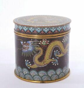 1900's Chinese Gilt Cloisonne Enamel Dragon Box Tea Caddy Lid Jar 675 Gram