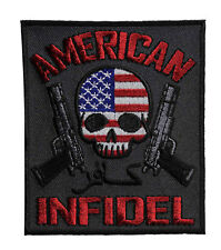 American Infidel Embroidered Iron On Patch - Biker Pistol Skull Motorcycle 048-Y