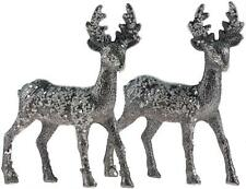 Set Of 2 Dazzling Glitter Silver Reindeer Figurines - Christmas Decorations Orna