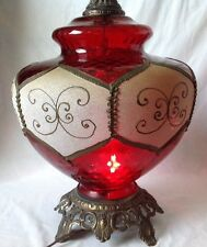 Huge Ruby Red Glass Lamp Lighted Base Accurate Casting Hollywood Regency Vintage