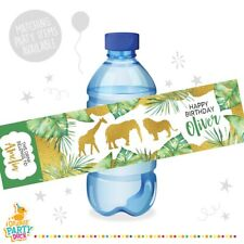 10 X Jungle Animals Gold Green Palm Birthday Party Water Bottle Label Stickers