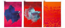 "IKEA Giltig 28""Dish Kitchen Bar Towel x3 Orange Pink Sunset Abstract BETTA Fish"