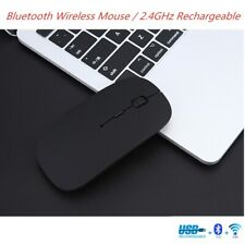 Wireless Bluetooth Mouse Rechargeable 2.4G Slim Mute Noiseless Optical For PC