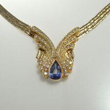 NO HEAT CEYLON BLUE SAPPHIRE Diamond Butterfly Angel 14K 18K Necklace Italy 1970