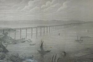 1800s VINTAGE B/W STEEL ENGRAVING PRINT THE TAY BRIDGE DUNDEE 31CMS BY 24CMS