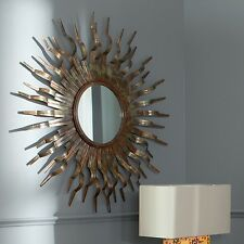 Sun Wall Mirror Round Gold Modern Sunburst Accent Contemporary Wood Decor Metal