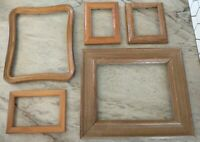 Vintage 5 Wood PICTURE FRAME Lot Recycle Arts Crafts Project Deco geo
