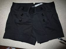 NEW WOMENS EXPRESS BLACK SATEEN CUFFED SHORTS WITH DOUBLE SIDE BUTTONS SIZE 10