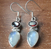 Faceted Garnet and Moonstone Teardrop 925 Sterling Silver Dangle Earrings r442i
