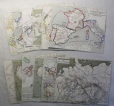 Konvolut 12 alte Karten um 1880 lithografiert u. grenzkoloriert Preußen Asien xz